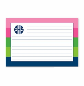 boatman geller bold stripe pink, green & navy recipe card