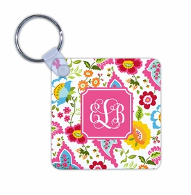 boatman geller bright floral key chain