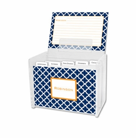 boatman geller bristol tile navy recipe box