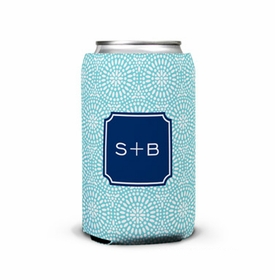 boatman geller bursts teal can koozie