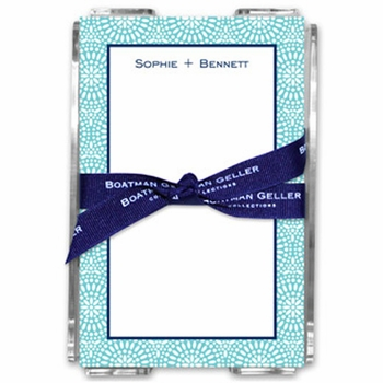 boatman geller bursts teal note sheets in acrylic note sheets