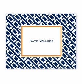 boatman geller chain link navy foldover note cards
