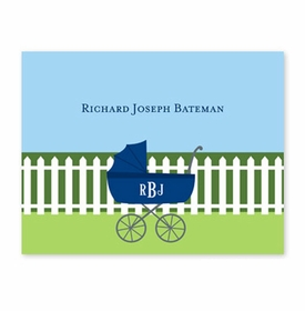 boatman geller charming pram navy foldover note cards