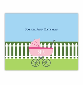 boatman geller charming pram pink foldover note cards
