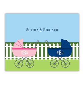 boatman geller charming pram twins foldover note cards