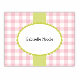 boatman geller check pink foldover note cards