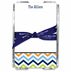 boatman geller chevron blue, orange & lime acrylic note sheets