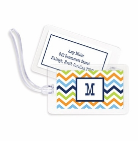 boatman geller chevron blue, orange & lime bag tags