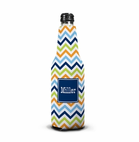 boatman geller chevron blue, orange & lime bottle koozie