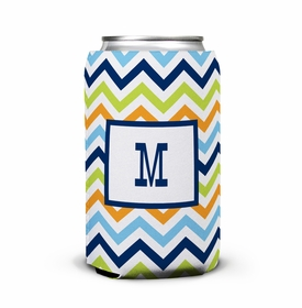 boatman geller chevron blue, orange & lime can koozie