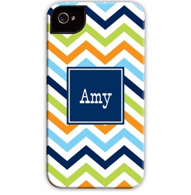 boatman geller chevron blue, orange & lime cell phone case