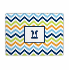 boatman geller chevron blue, orange & lime cutting board