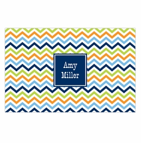 boatman geller chevron blue, orange & lime disposable placemats