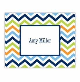 boatman geller chevron blue, orange & lime foldover note cards