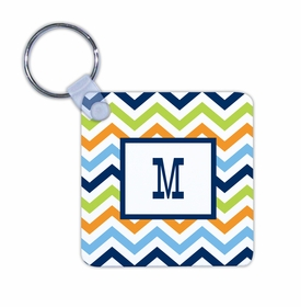 boatman geller chevron blue, orange & lime key chain