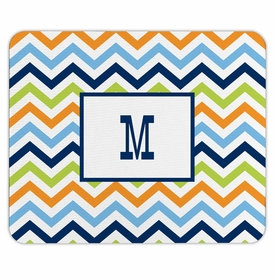 boatman geller chevron blue, orange & lime mouse pad