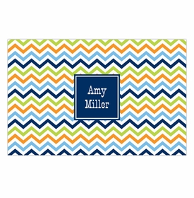 boatman geller chevron blue, orange & lime placemat