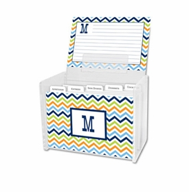 boatman geller chevron blue, orange & lime recipe box