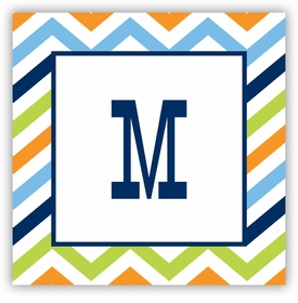 boatman geller chevron blue, orange & lime square sticker