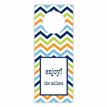 boatman geller chevron blue, orange & lime wine tags