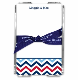 boatman geller chevron blue & red acrylic note sheets