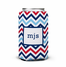 boatman geller chevron blue & red can koozie
