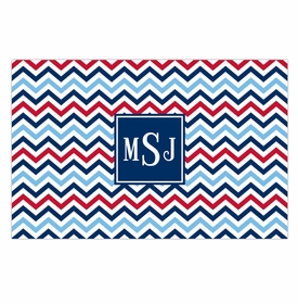boatman geller chevron blue & red disposable placemats