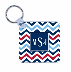 boatman geller chevron blue & red key chain