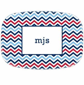 boatman geller chevron blue & red platters