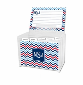 boatman geller chevron blue & red recipe box