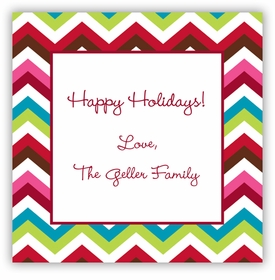 boatman geller chevron holiday square sticker