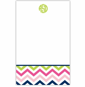 boatman geller chevron pink, navy and lime notepad