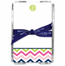 boatman geller chevron pink, navy & lime acrylic note sheets