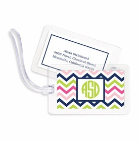 boatman geller chevron pink, navy & lime bag tags