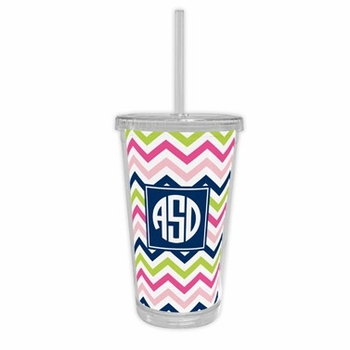 boatman geller chevron pink, navy & lime beverage tumbler