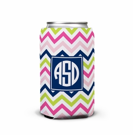 boatman geller chevron pink, navy & lime can koozie