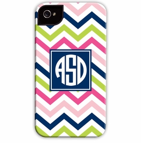boatman geller chevron pink, navy & lime cell phone case