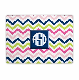 boatman geller chevron pink, navy & lime cutting board
