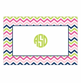 boatman geller chevron pink, navy & lime disposable placemats