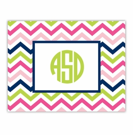 boatman geller chevron pink, navy & lime foldover note cards