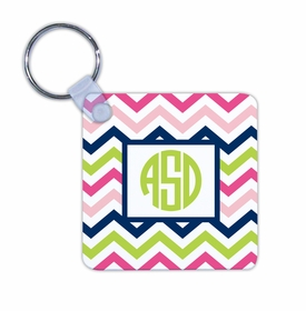 boatman geller chevron pink, navy & lime key chain