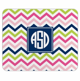 boatman geller chevron pink, navy & lime mouse pad