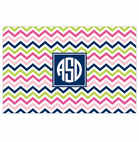 boatman geller chevron pink, navy & lime placemat