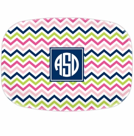 boatman geller chevron pink, navy & lime platters
