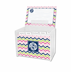boatman geller chevron pink, navy & lime recipe box