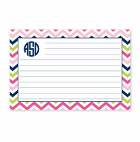 boatman geller chevron pink, navy & lime recipe card