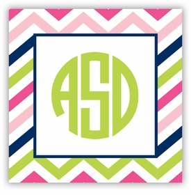 boatman geller chevron pink, navy & lime square sticker