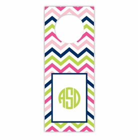 boatman geller chevron pink, navy & lime wine tags