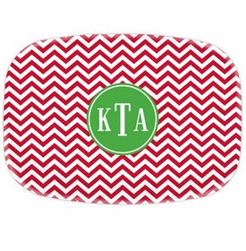 boatman geller chevron red platters