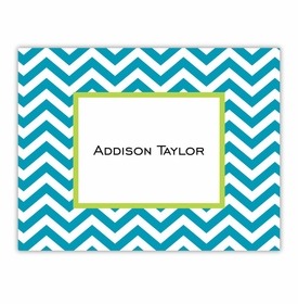 boatman geller chevron turquoise foldover note cards